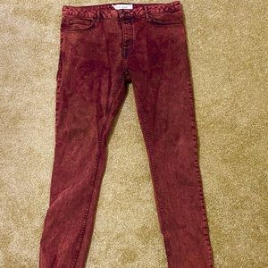 Red washed colored jeans